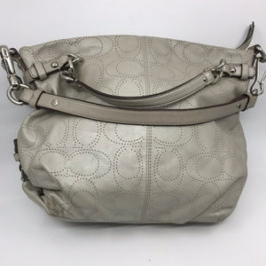 COACH L White C Dotted Design Leather Shoulder Bag